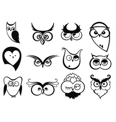 Set of cartoon owls with various emotions vector image vector image