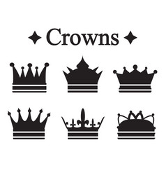 set of silhouettes king crown or pope tiara vector image vector image
