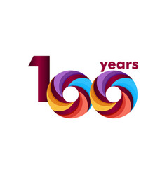 100 year anniversary colorful template design vector