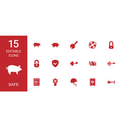 15 safe icons vector image