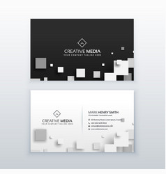 3d quare business card design vector