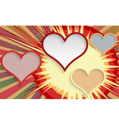 Abstract explosion background with hearts vector