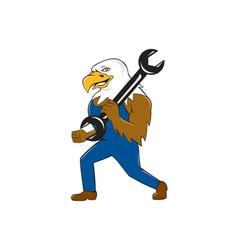 American Bald Eagle Mechanic Wrench Cartoon vector