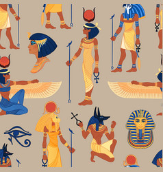 Ancient egypt vintage seamless pattern with vector