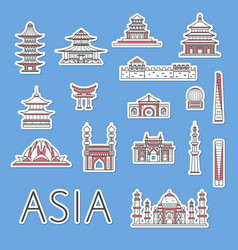 Asian traveling labels set in linear style vector