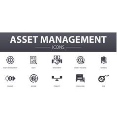 Asset management simple concept icons set vector
