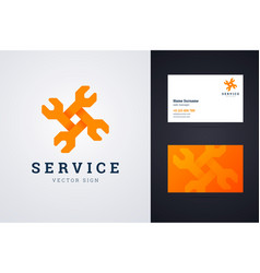 Auto repair service logo and business card vector