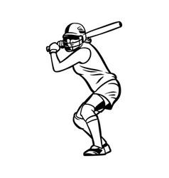 Baseball girl player ready hit ball black vector