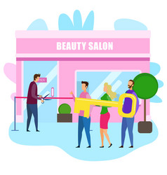 Beauty salon owner cut red ribbon opening ceremony vector