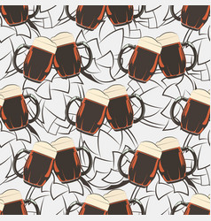 beer seamless pattern with beer mugs and hops vector image