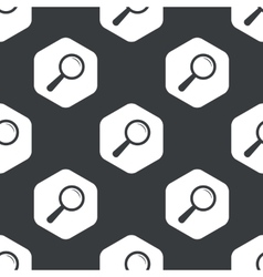 Black hexagon magnifier pattern vector