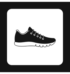 Black sneaker icon simple style vector image