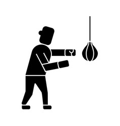 boxing icon black sign on vector image