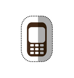 Brown communication cellphone call icon vector
