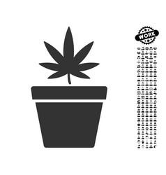 cannabis pot icon with people bonus vector image