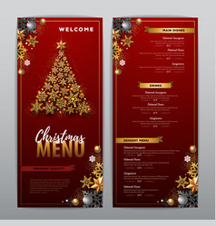 Christmas menu design with golden christmas tree vector