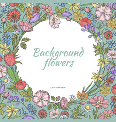 Circle background with flowers hand drawn vector