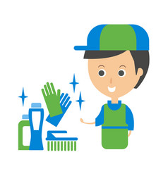 Cleanup service worker and household chemistry vector