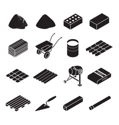 construction material black set icon vector image