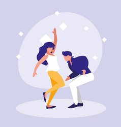 couple dance of disco avatar character vector image