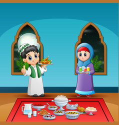 Couple muslim preparing iftar food at ramadan vector