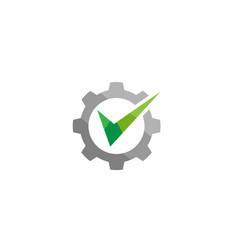 creative abstract gear green check logo design vector image