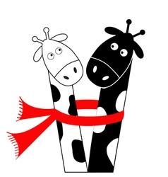 Cute cartoon black white giraffe wearing red scarf vector image