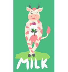 cute happy cow with golden bell having fun funny vector image