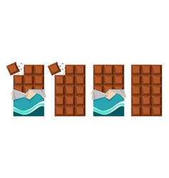 Dark chocolate bar icons vector