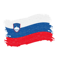 flag of slovenia grunge abstract brush stroke vector image