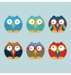 Funny frozen owls set vector