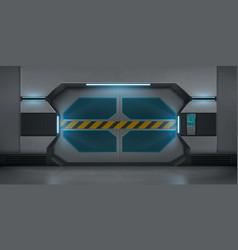 Futuristic metal sliding doors in spaceship vector
