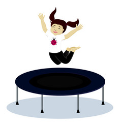 Girl on trampoline vector
