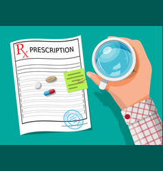 Glass water pills capsules prescription vector