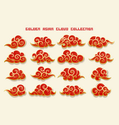 golden asian clouds collection vector image