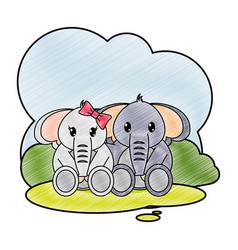 grated elephant couple cute animal in the vector image