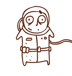 Hand drawn scared astronaut vector