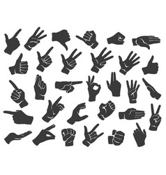 hand gesture silhouette icons man hands gestures vector image