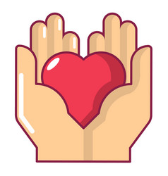 hand heart icon cartoon style vector image