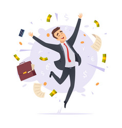 Happy businessman jumping proffesional successful vector
