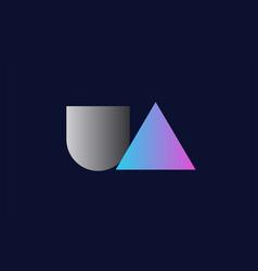 Initial alphabet letter ua u a logo company icon vector