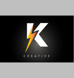 K letter logo design with lighting thunder bolt vector