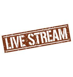 Live stream square grunge stamp vector