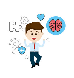 Mental health person with tips care brain vector