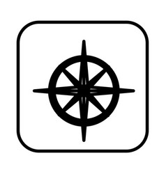 monochrome contour square with compass icon vector image