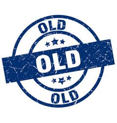 old blue round grunge stamp vector image