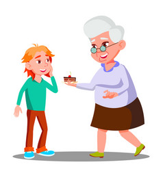 old woman treating little child with cookies vector image