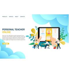 online personal teacher website landing vector image