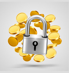 padlock with gold coins object icon vector image