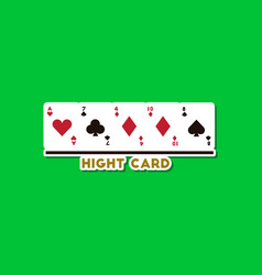 Paper sticker on stylish background poker high vector